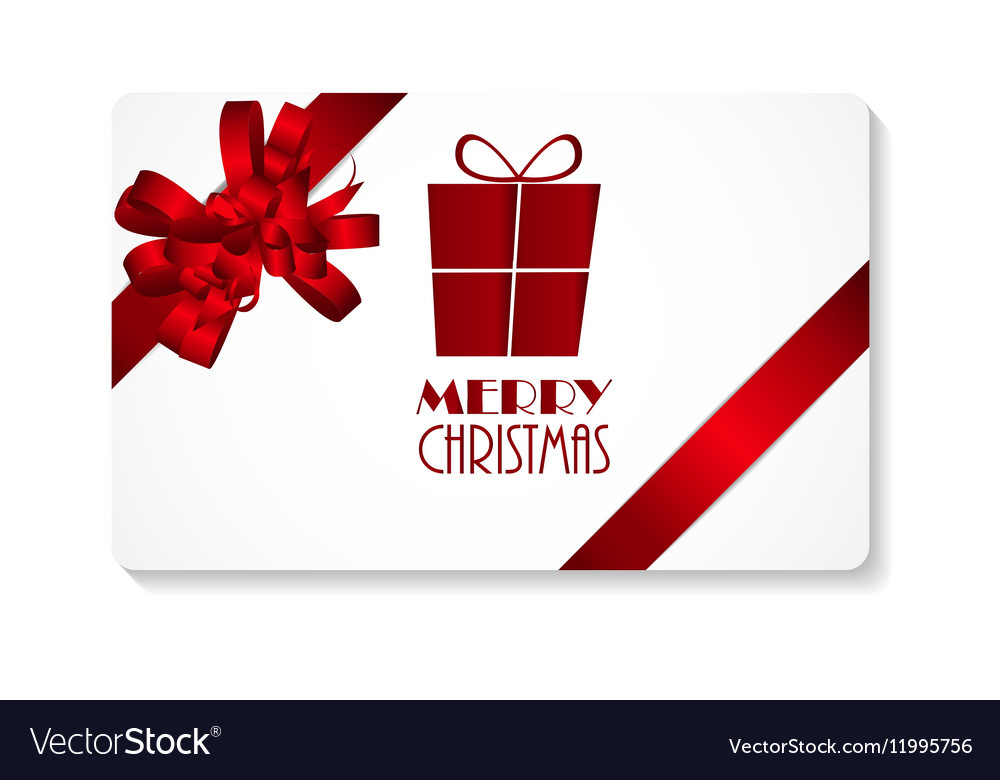 Merry Christmas Gift Card.Gift Card With Red Bow And Ribbon Merry Christmas
