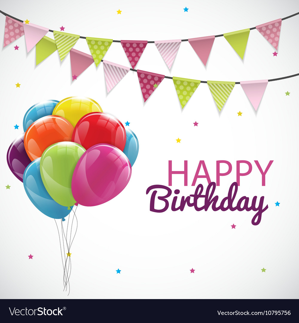 happy birthday card template with balloons ribbon vector image