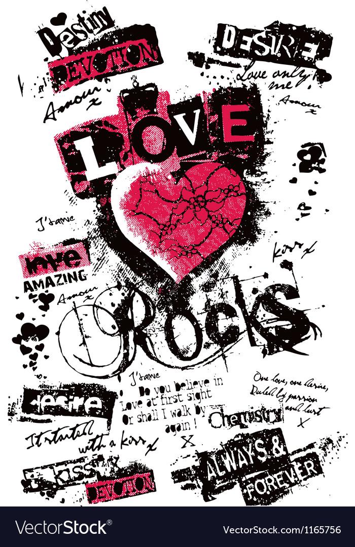 Heart love grungy texture vector image