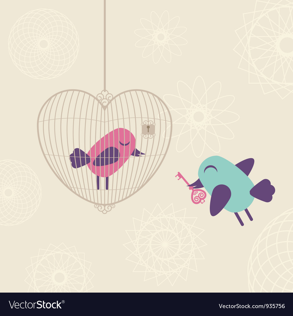 Love cage with birds