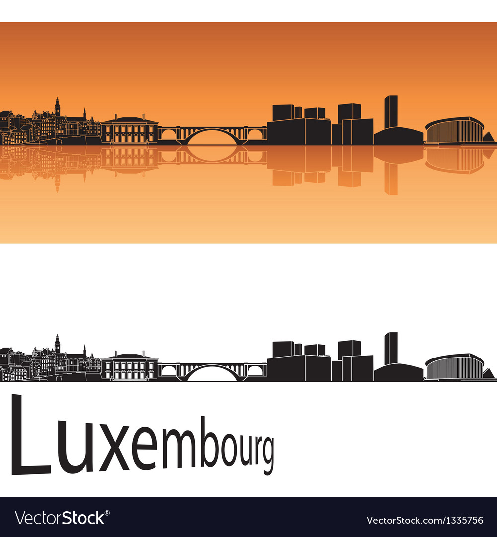 Luxembourg skyline in orange background vector image