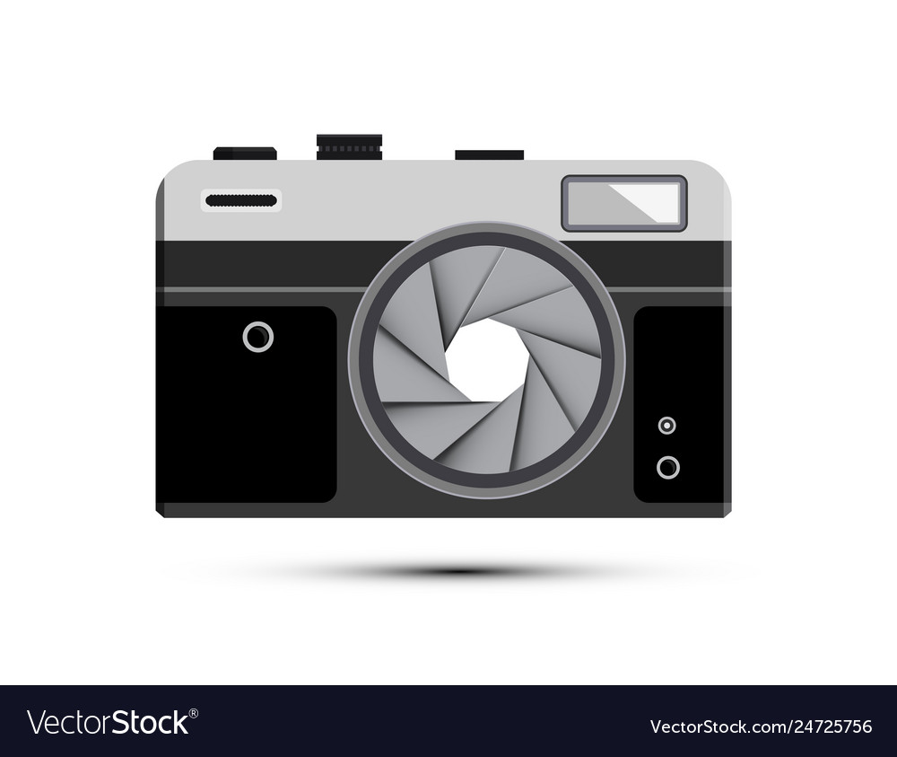 Retro mirrorless photography camera symbol with