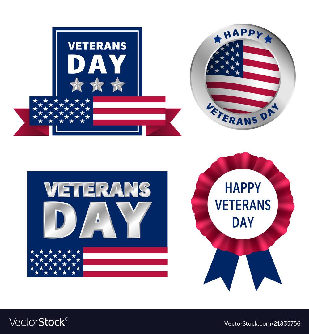 Veterans logo set realistic style