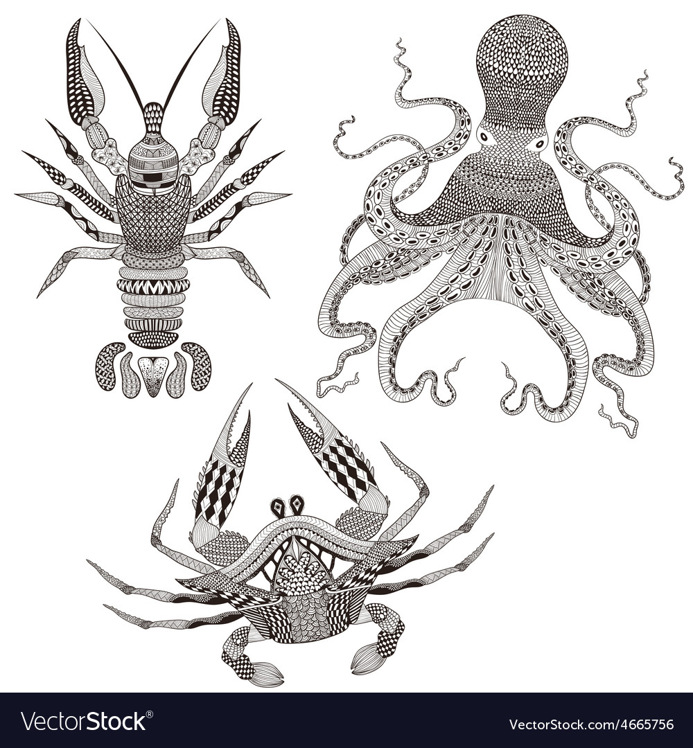 Zentangle stylized Octopus King Crab Crayfish Hand