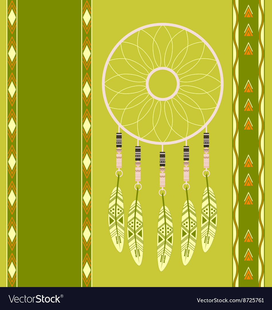 American indian magical dreamcatcher with feathers