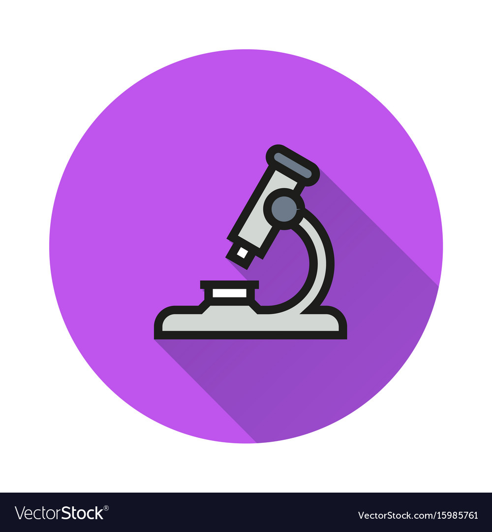 Microscope icon on round background