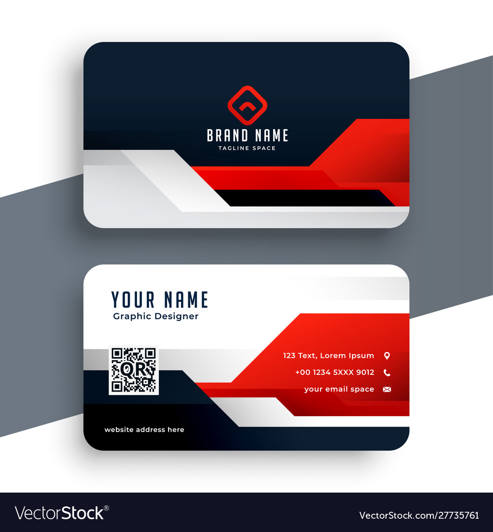 Modern red business card template in geometric