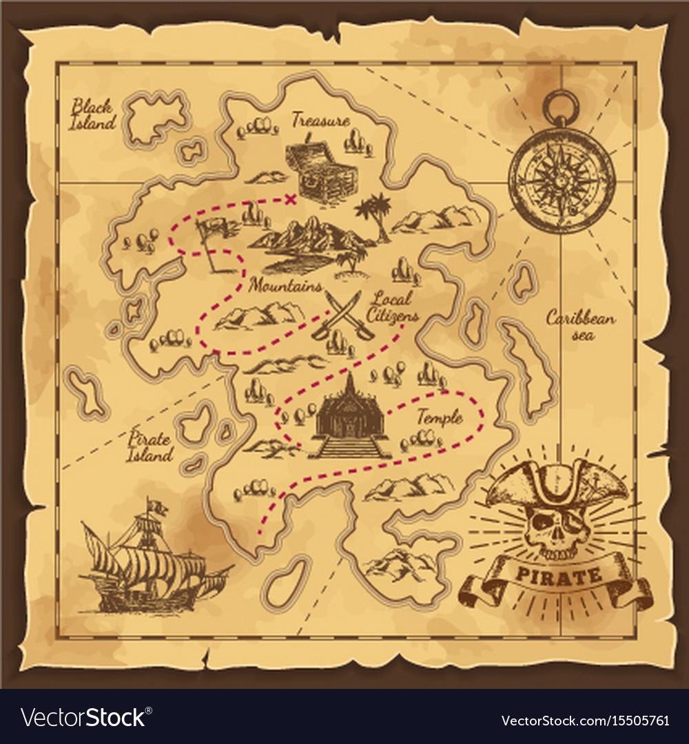pirate treasure map hand drawn royalty free vector image rh vectorstock com old treasure map vector treasure map background vector free download