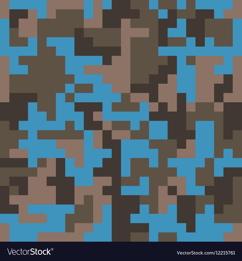 Pixel camo seamless pattern Fashion blue trendy