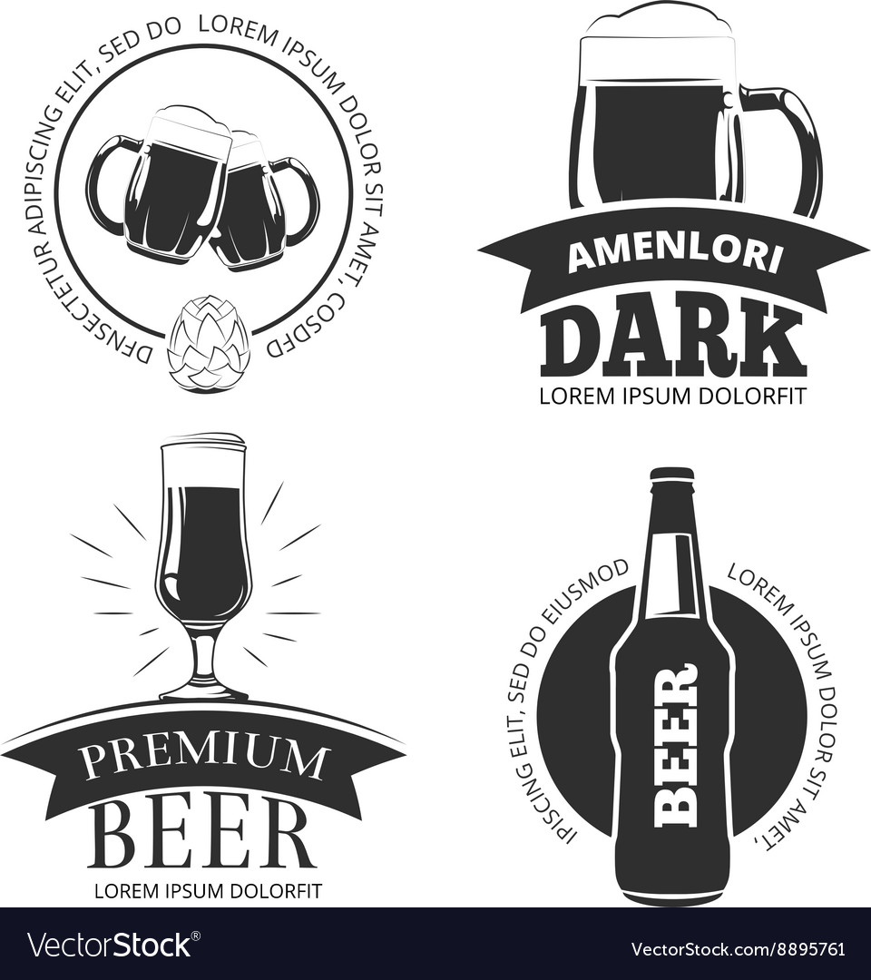 Retro beer goods emblems labels badges vector image