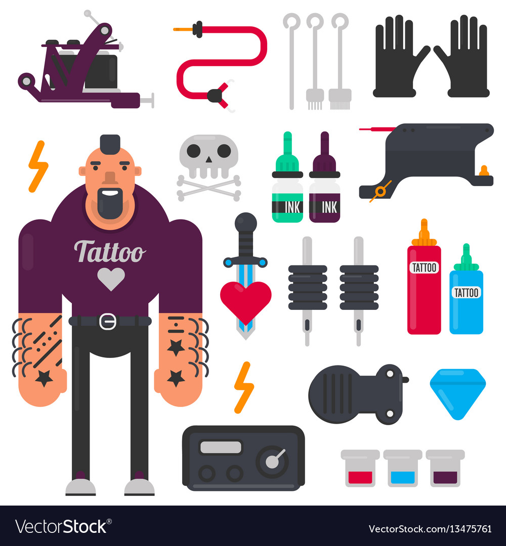 Tattoo master and tattooing tools icons set