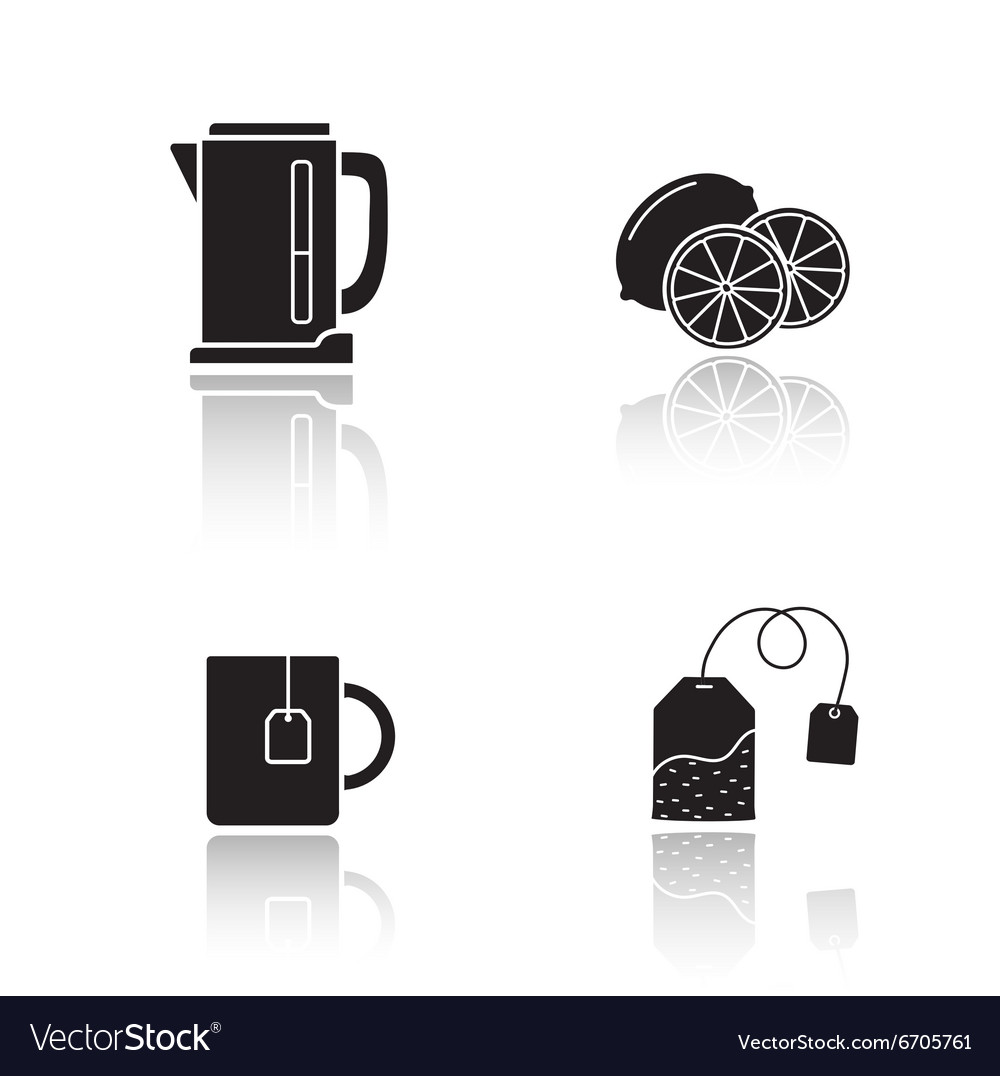 Tea equipment drop shadow icons set