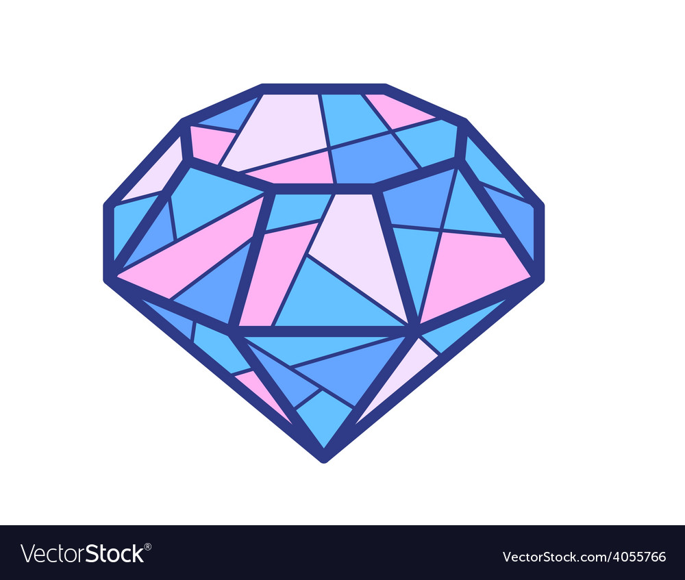 Blue and pink diamond on white background