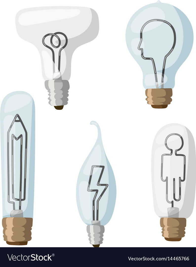 Creative idea lamps cartoon flat