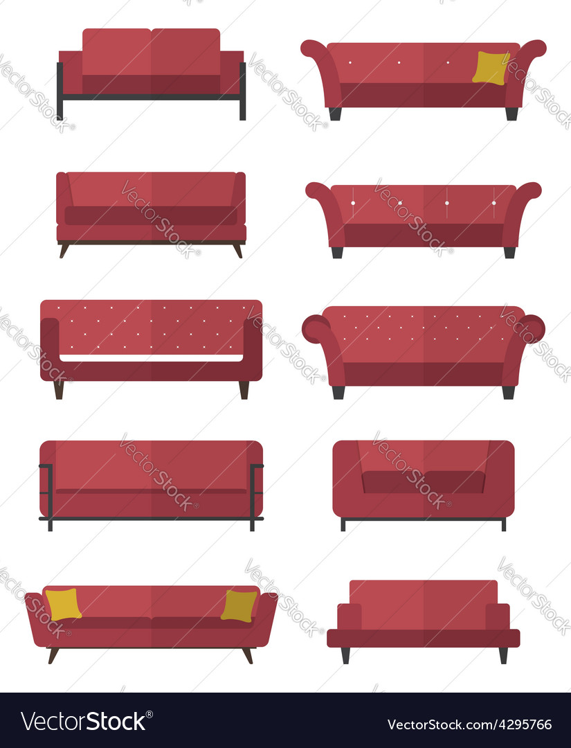 Flat design icon set of chair and sofa vector image