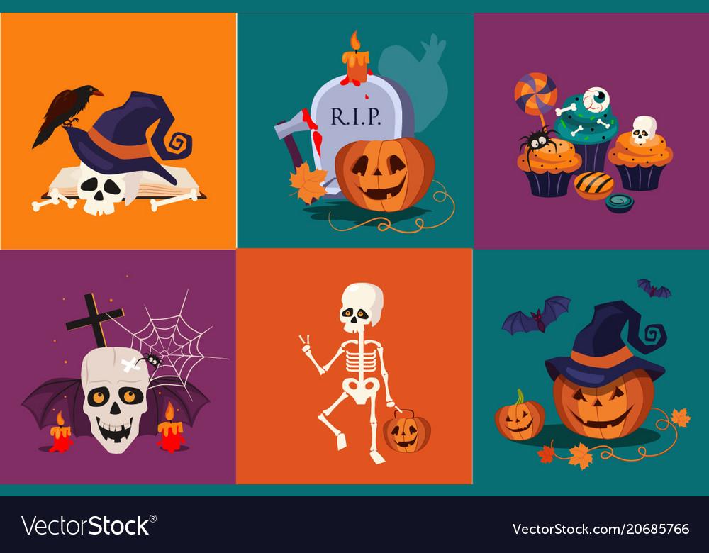 Halloween symbols set funny skeleton traditional