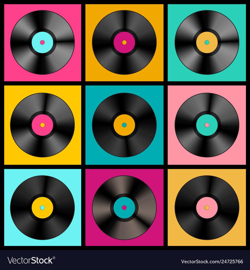 Retro music background with vinyl records - lp