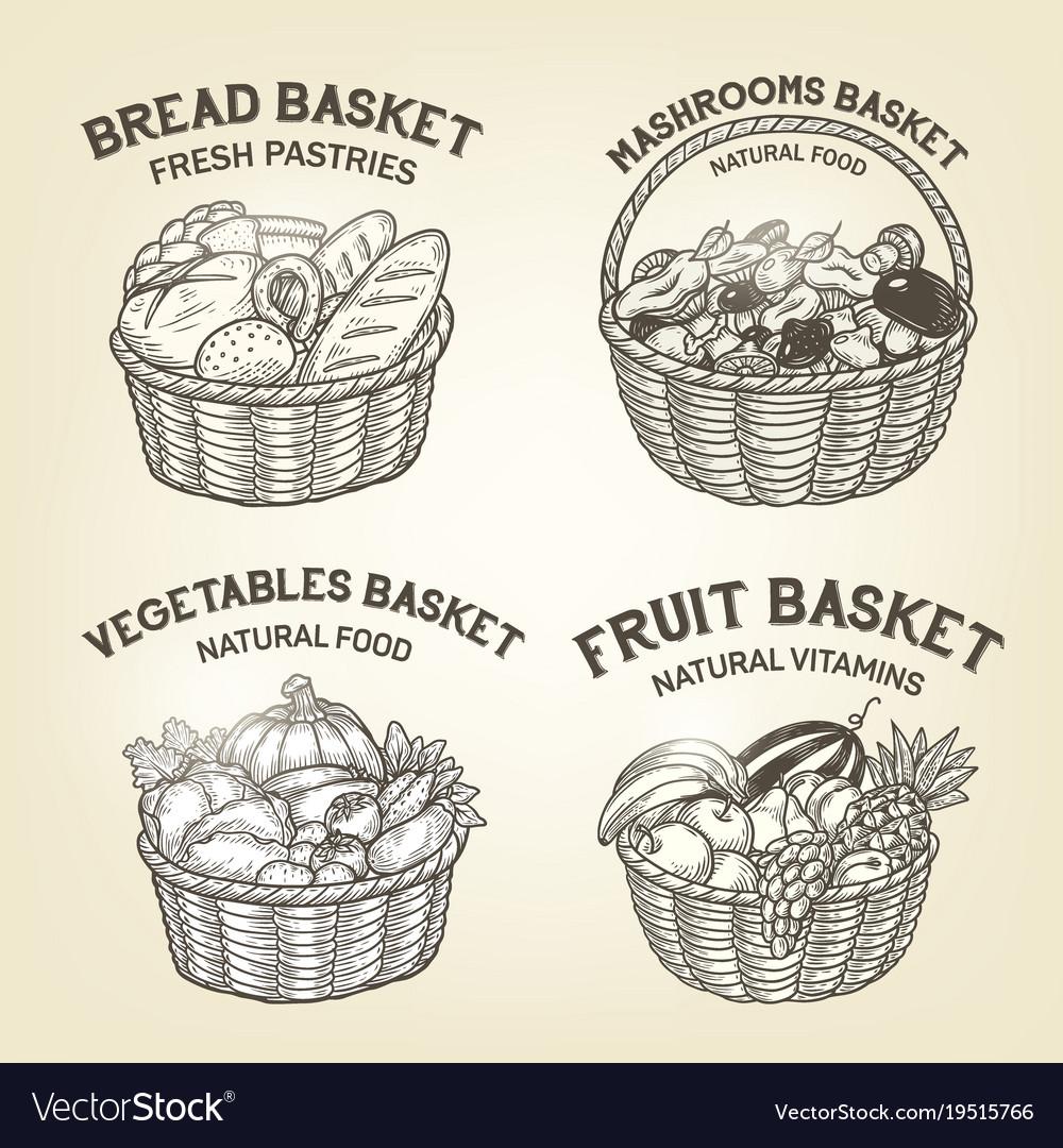 Set of baskets with diferent kinds of food