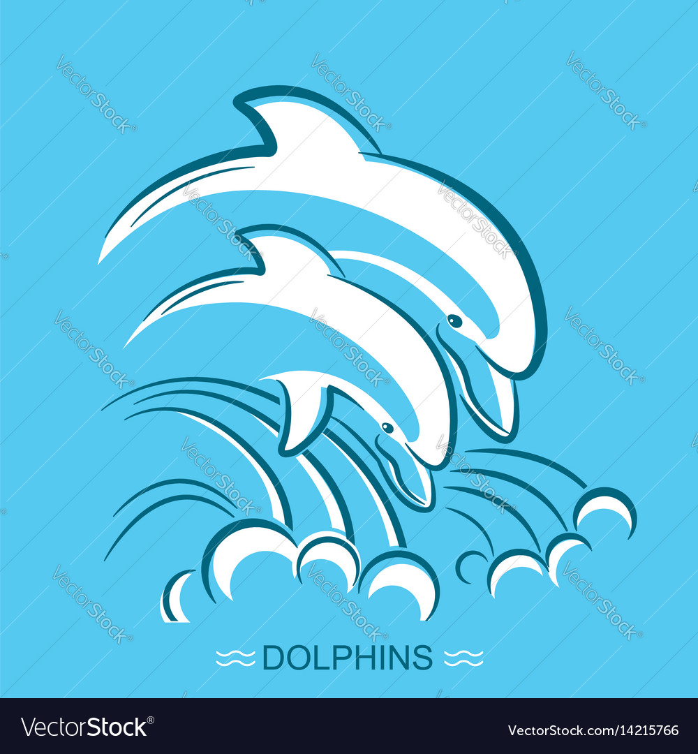 Two dolphins symbol of parent and vector image