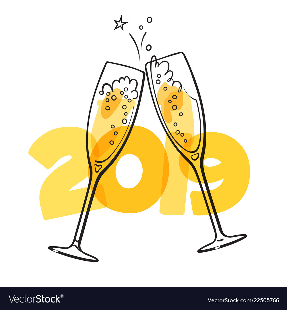 Two glasses champagne on 2019 background