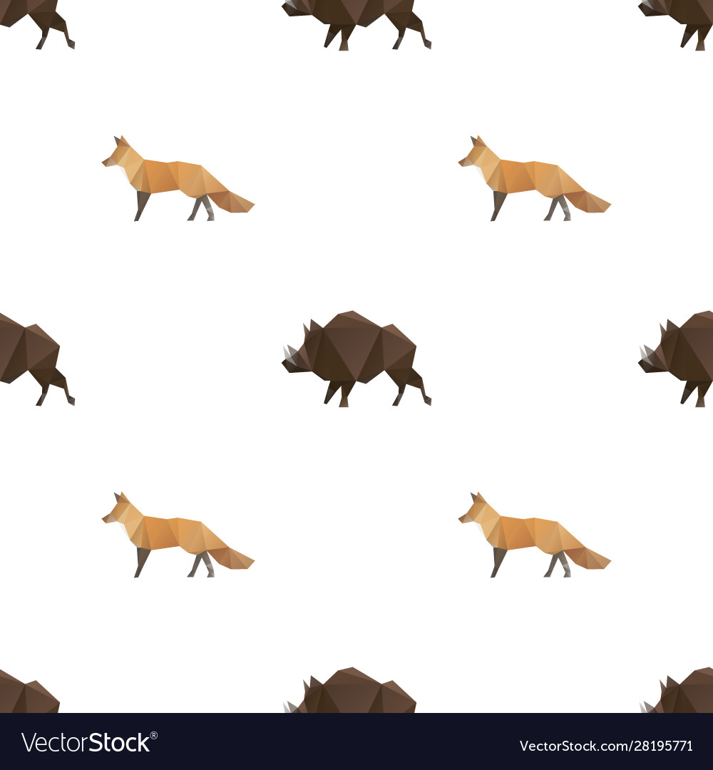 Boar and fox triangle pattern backgrounds