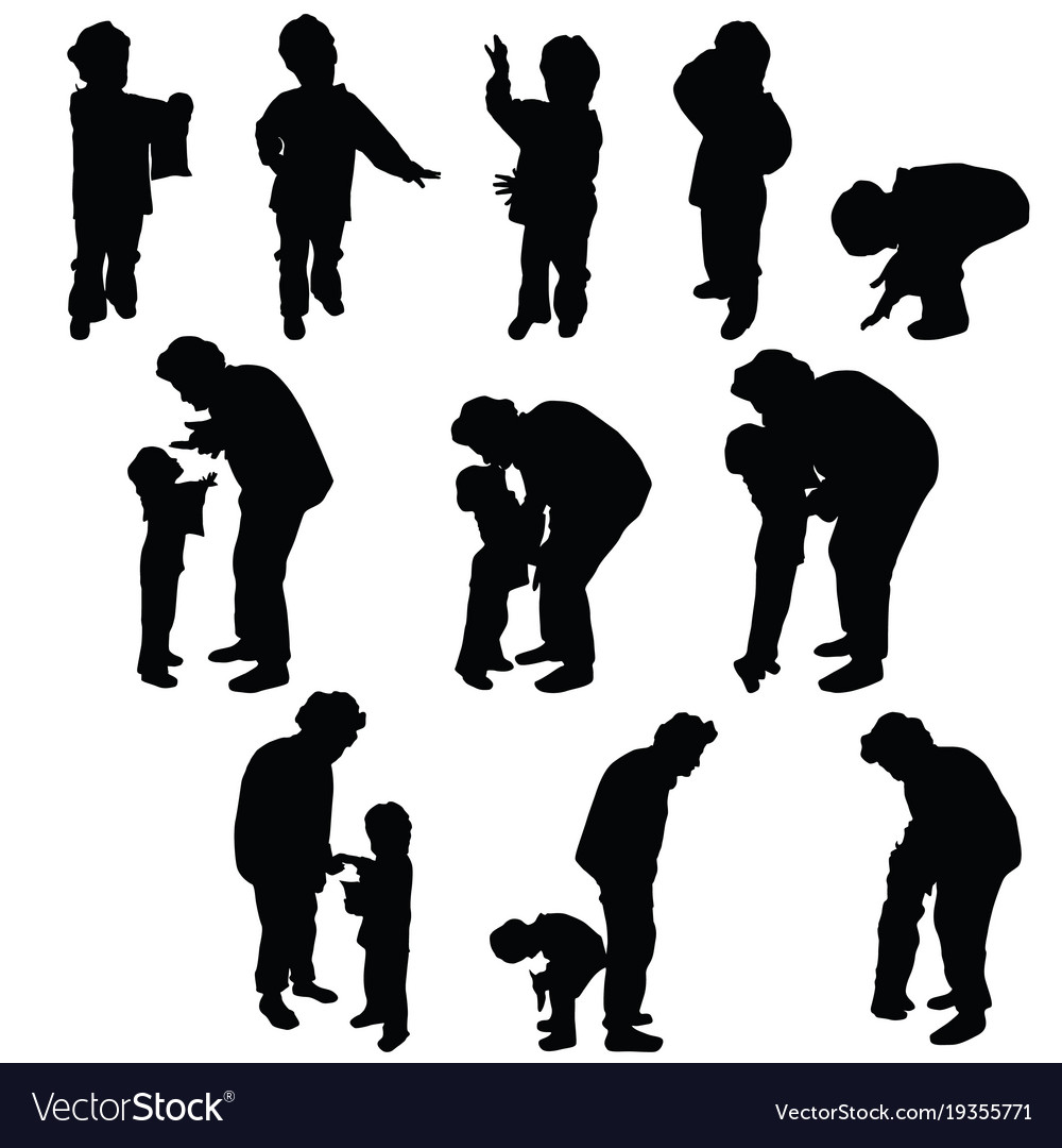child silhouette with grandmother royalty free vector image rh vectorstock com jumping child silhouette vector child silhouette vector free