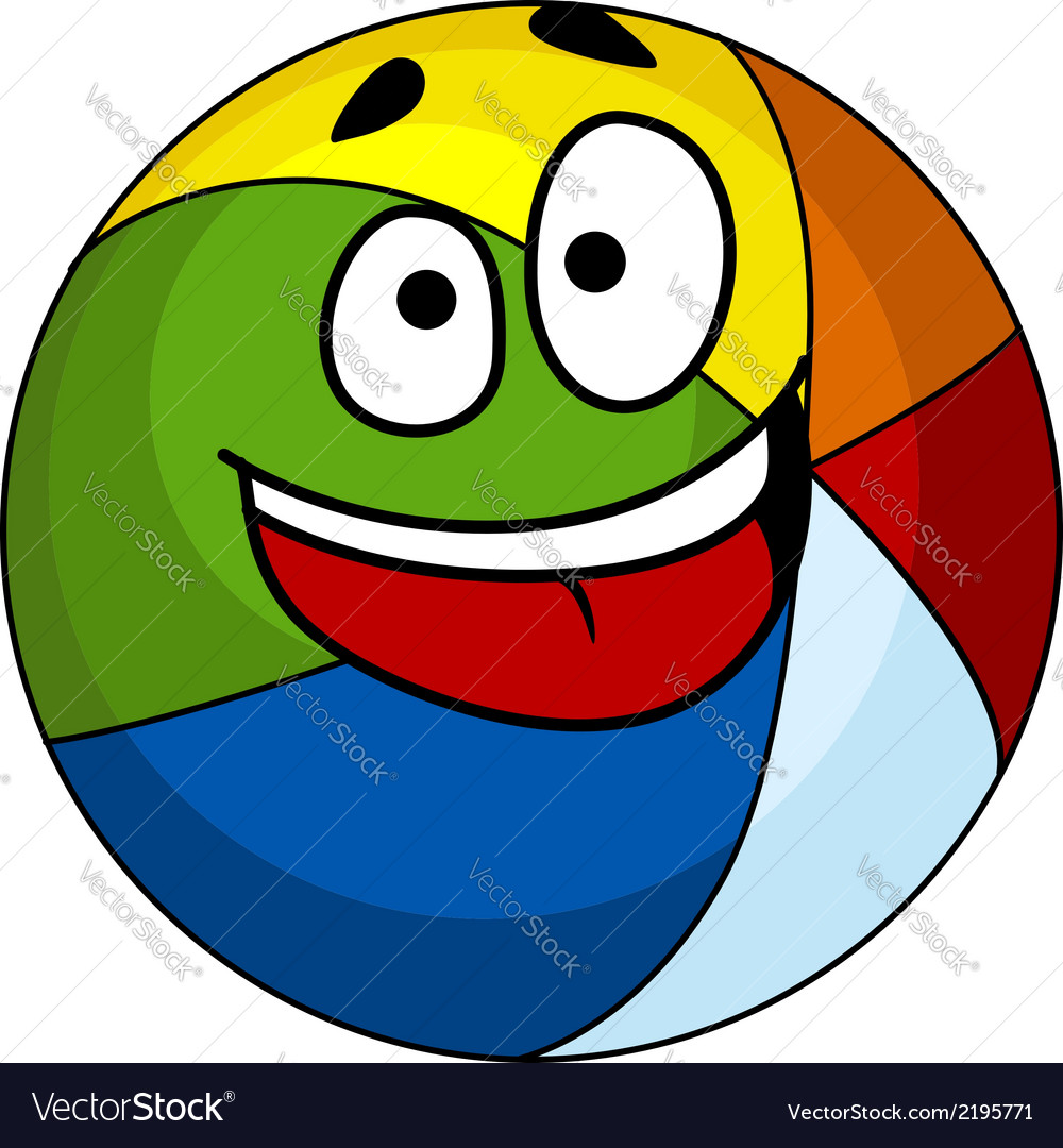 colorful laughing cartoon beach ball royalty free vector rh vectorstock com beach volleyball cartoon cartoon beach ball drawing