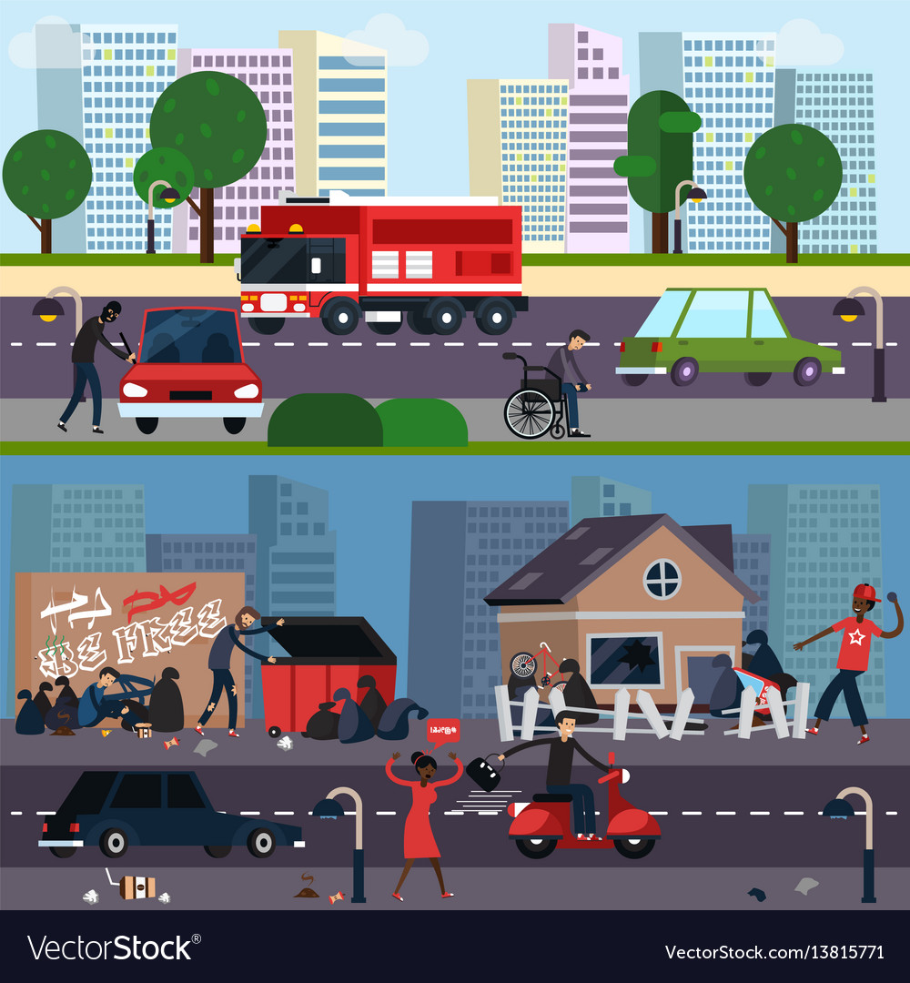 Downtown and ghetto character composition set vector image
