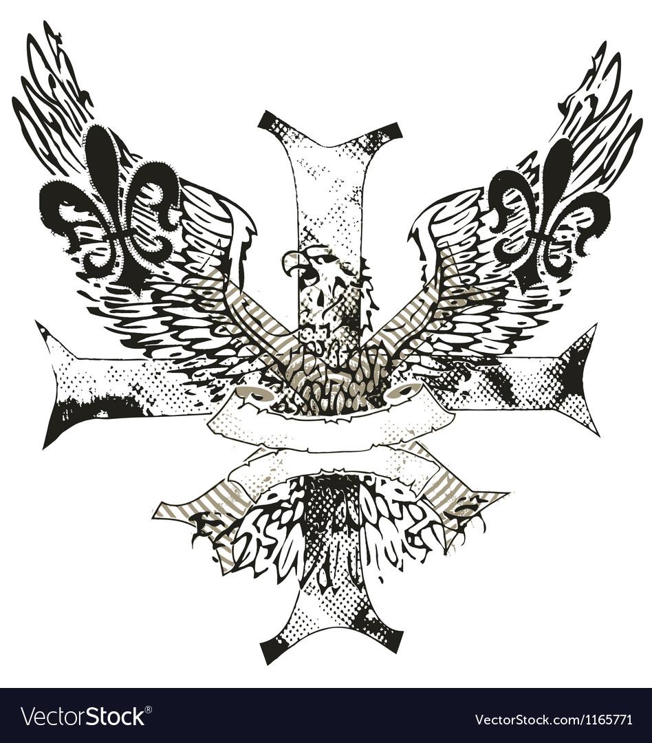 Eagles cross and shield emblem vector image