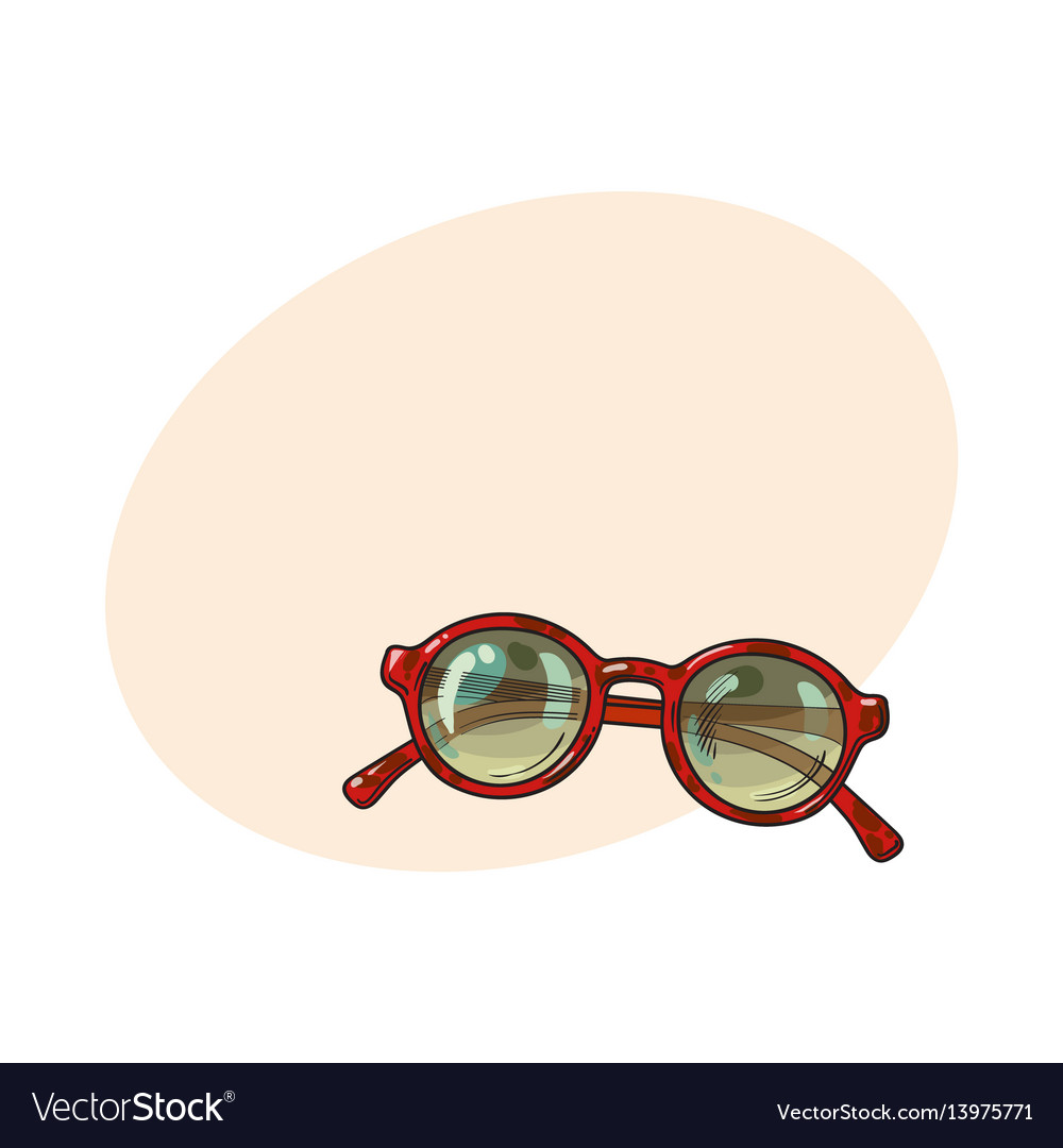 Fashionable round sunglasses in red plastic frame