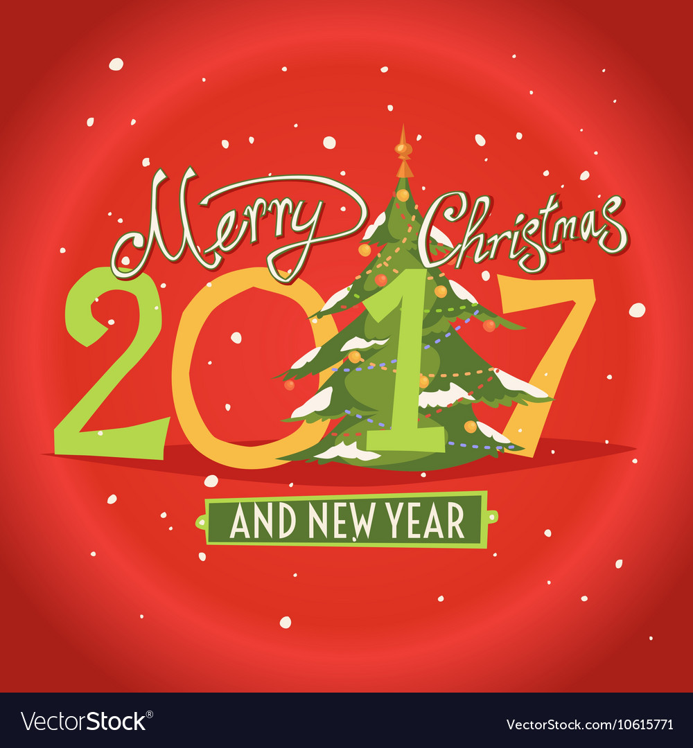 figures 2017 and the words merry christmas vector image