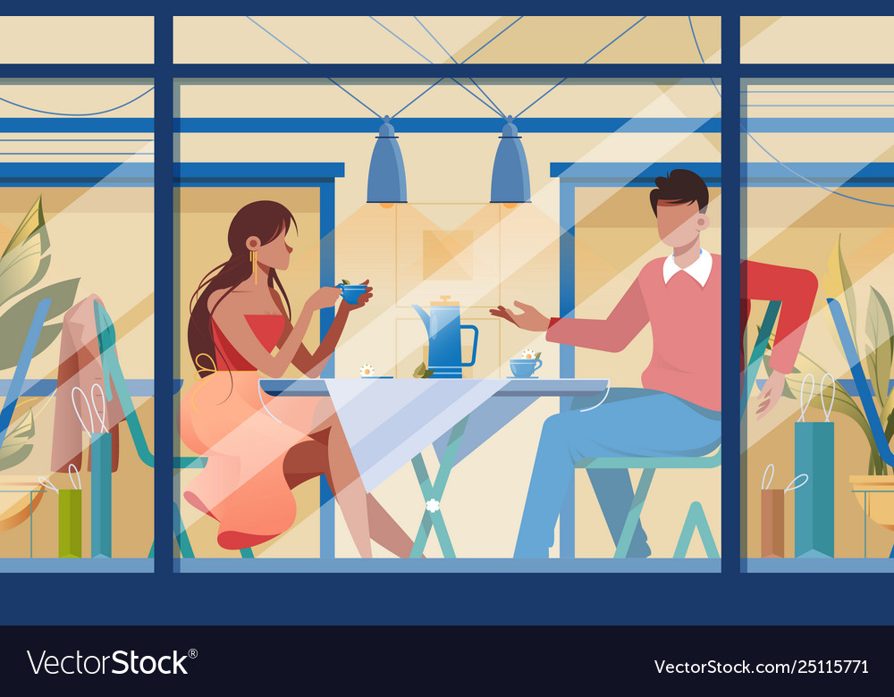 Flat young romantic couple in cafe on date
