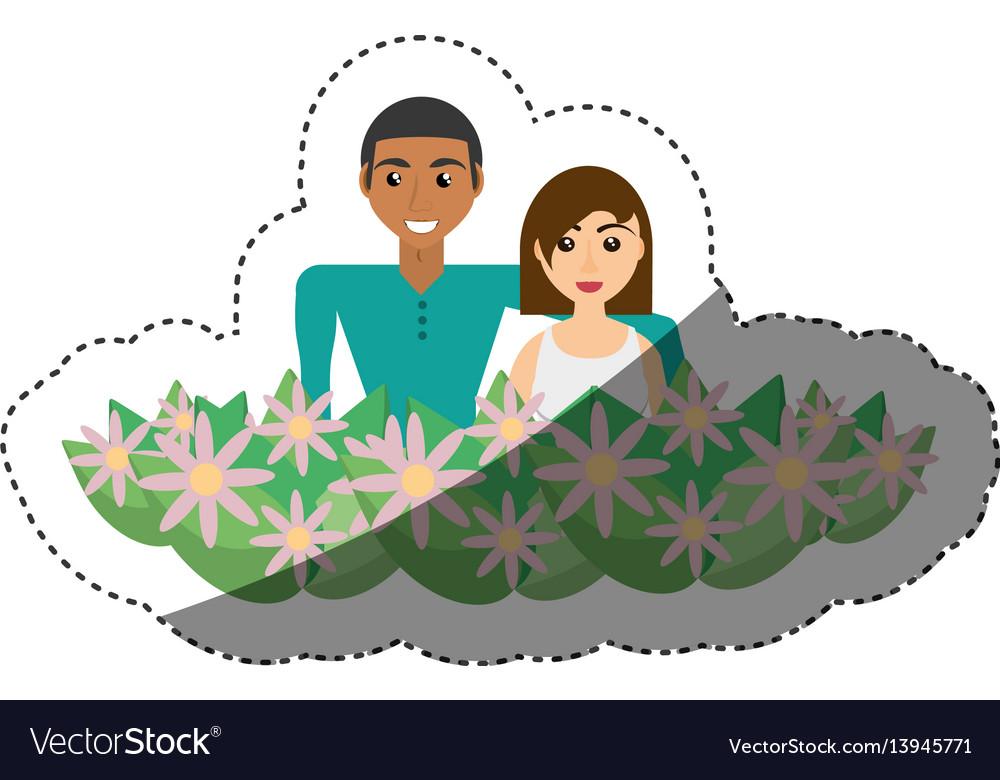 Happy couple with decorative flowers romantic
