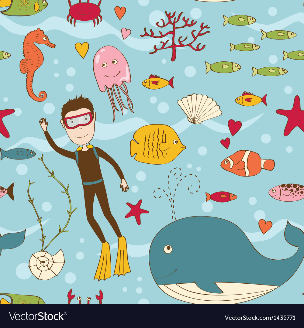Marine life seamless