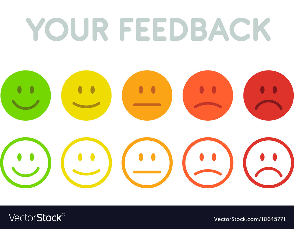 Set Faces Scale Feedback Isolated Royalty Free Vector