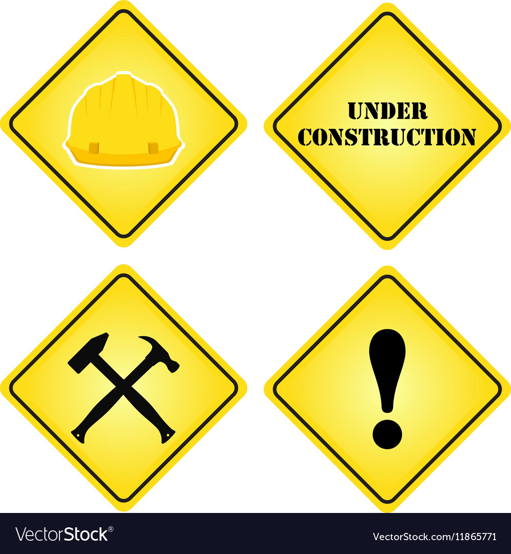 Set of signs under construction Flat style for