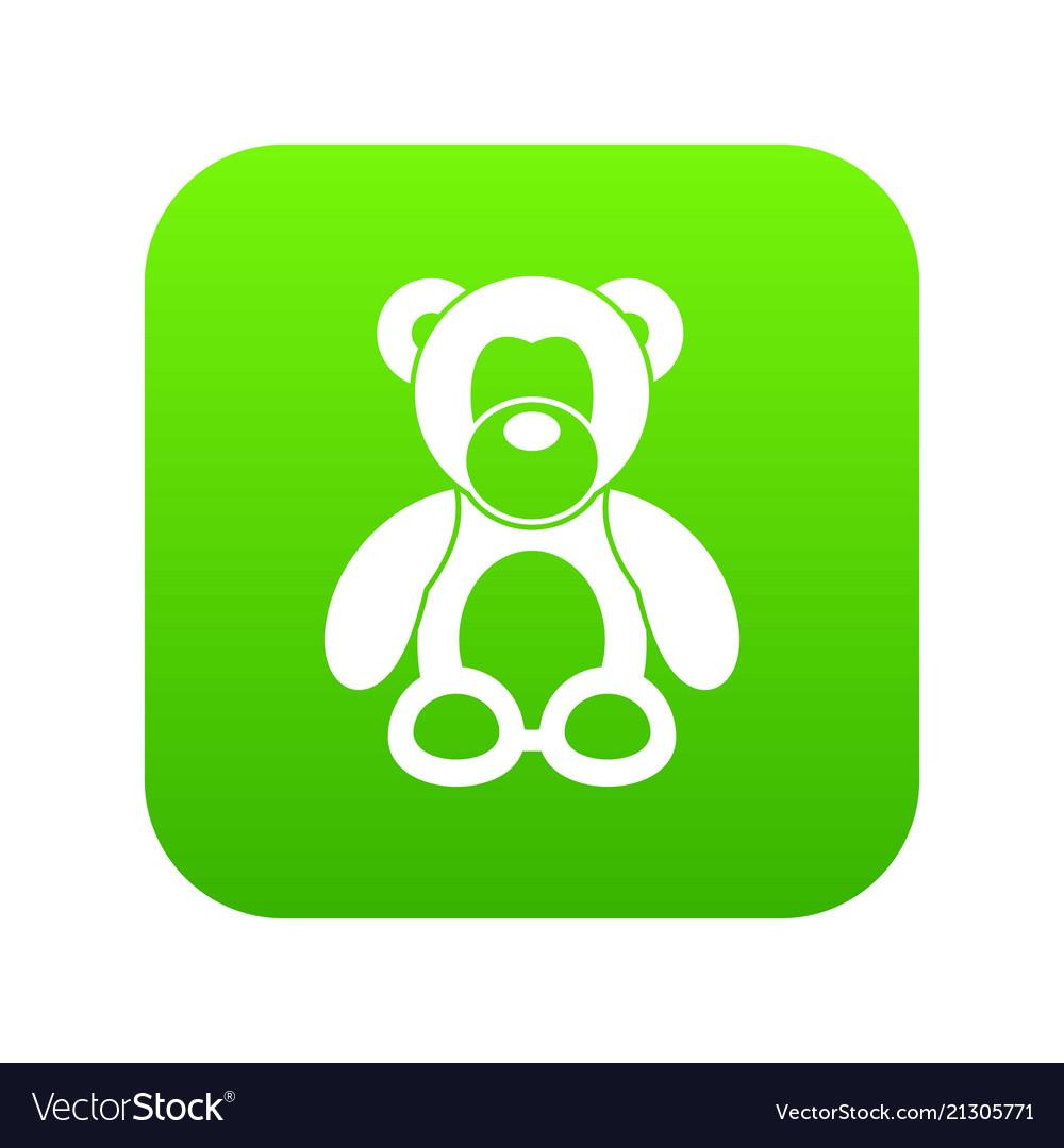 Teddy bear icon digital green