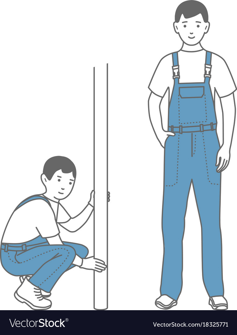 Two figures of male workers in overalls locksmith