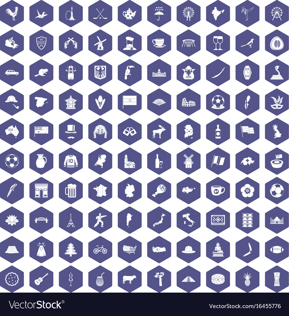 100 map icons hexagon purple