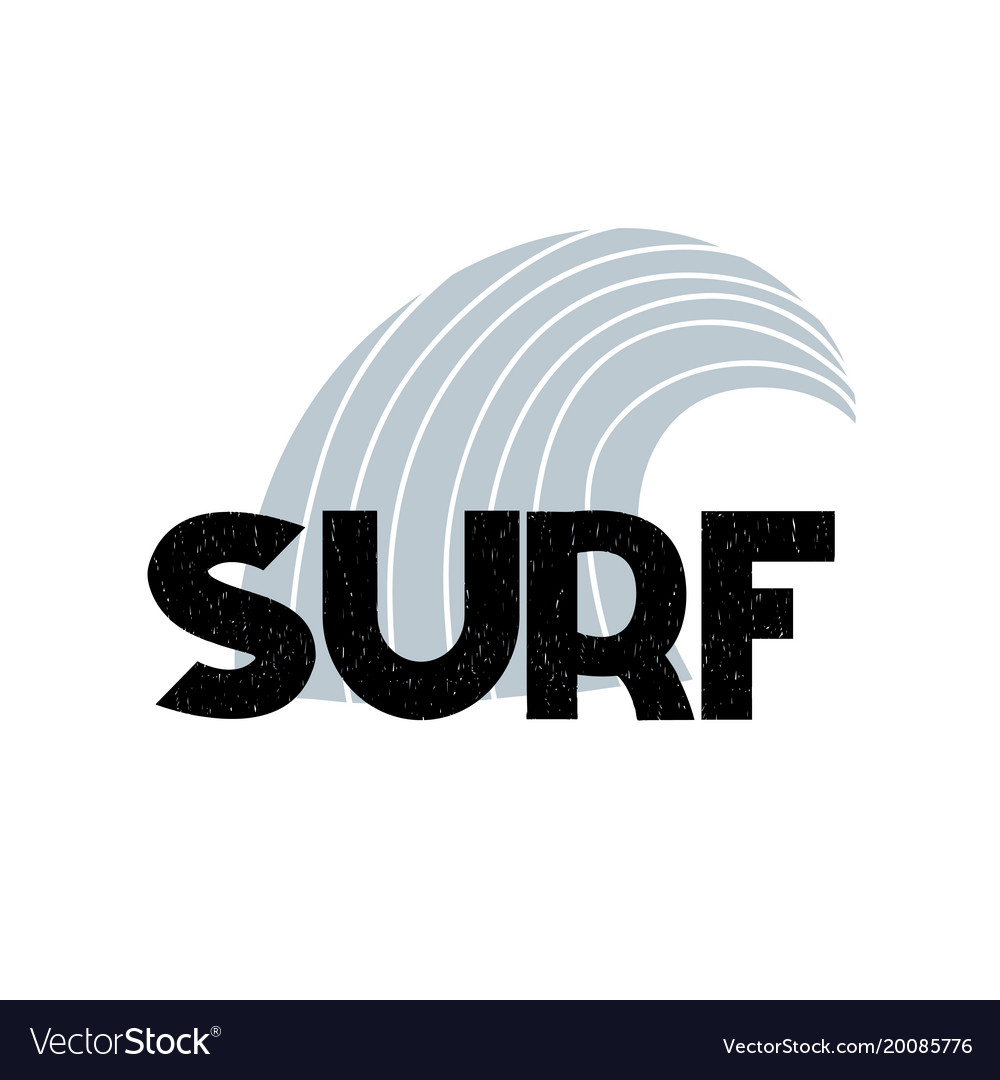 Card with lettering surf and wave in scandinavian vector image