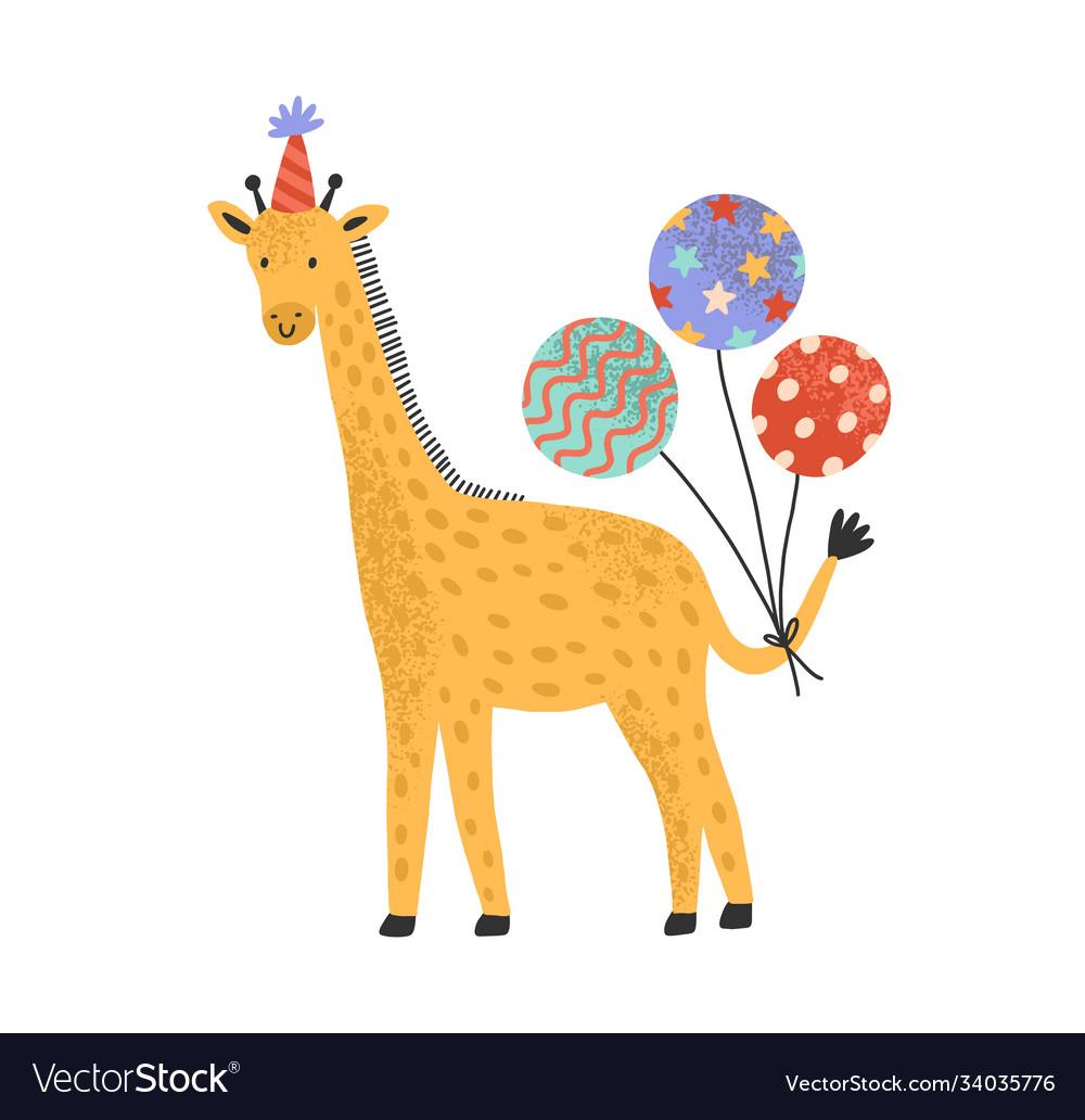 Cute giraffe in holiday cap hold bright festive