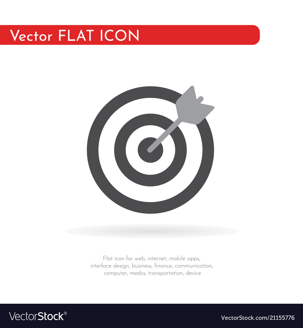 Darts target aim icon flat pictogram for