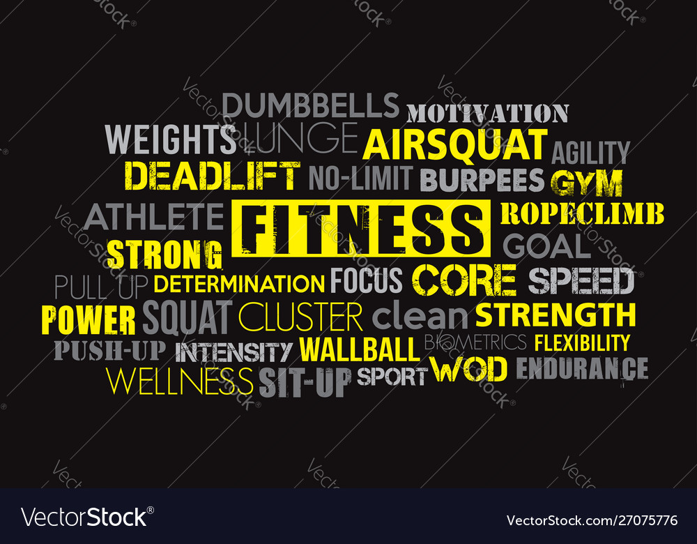 Fitness word cloud concept text is outline