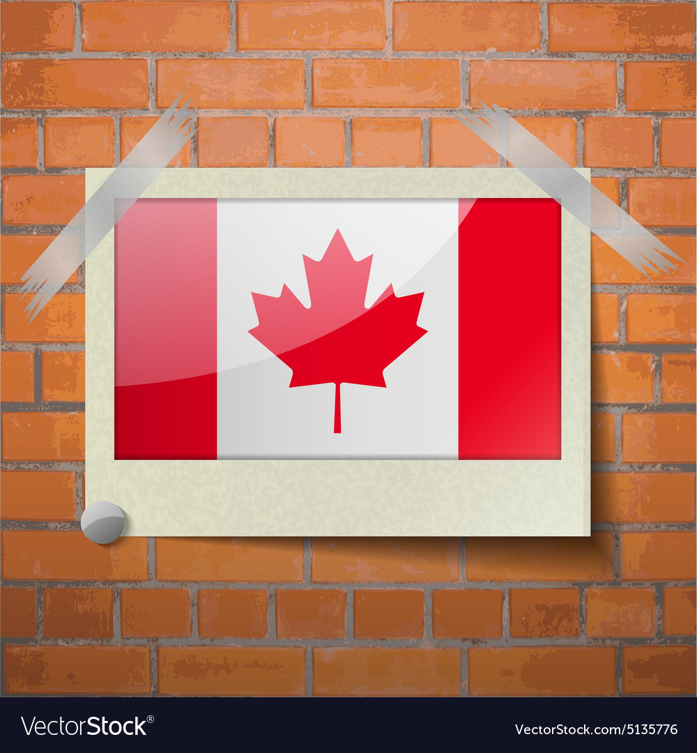 Flags Canada Scotch Taped To A Red Brick Wall Vector Image Maple