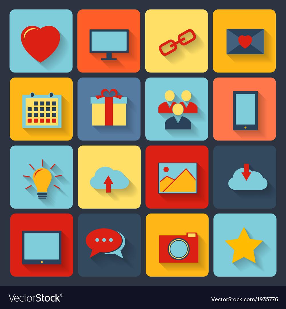 Flat set of modern icons