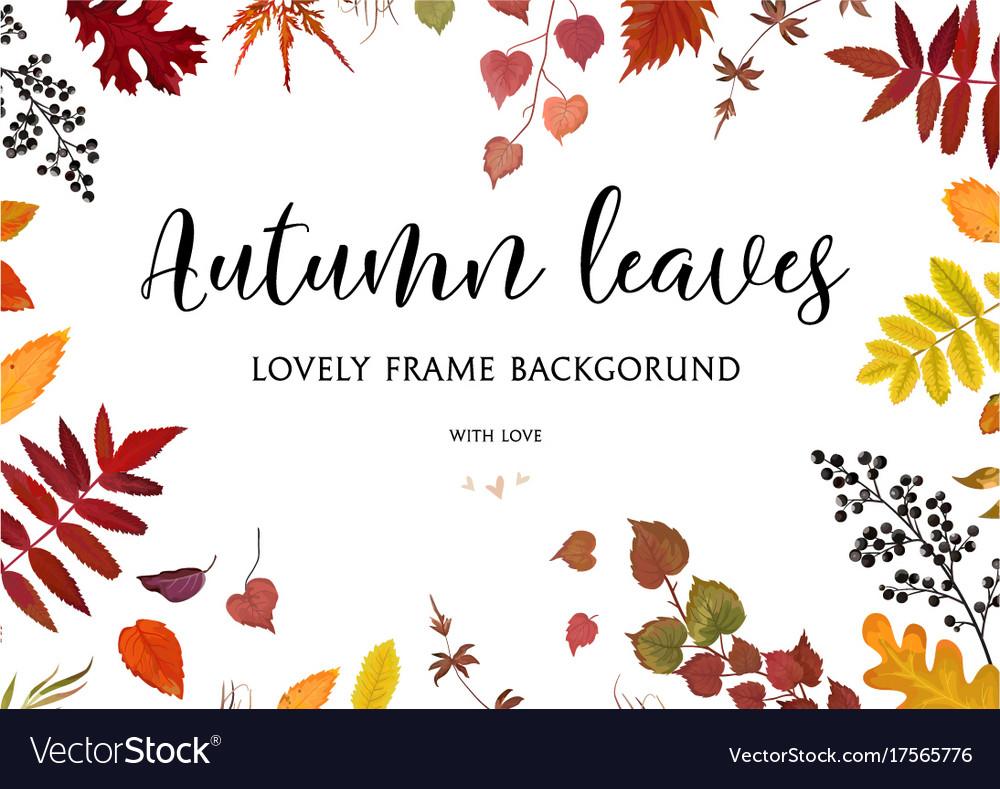 Floral watercolor style card design autumn border