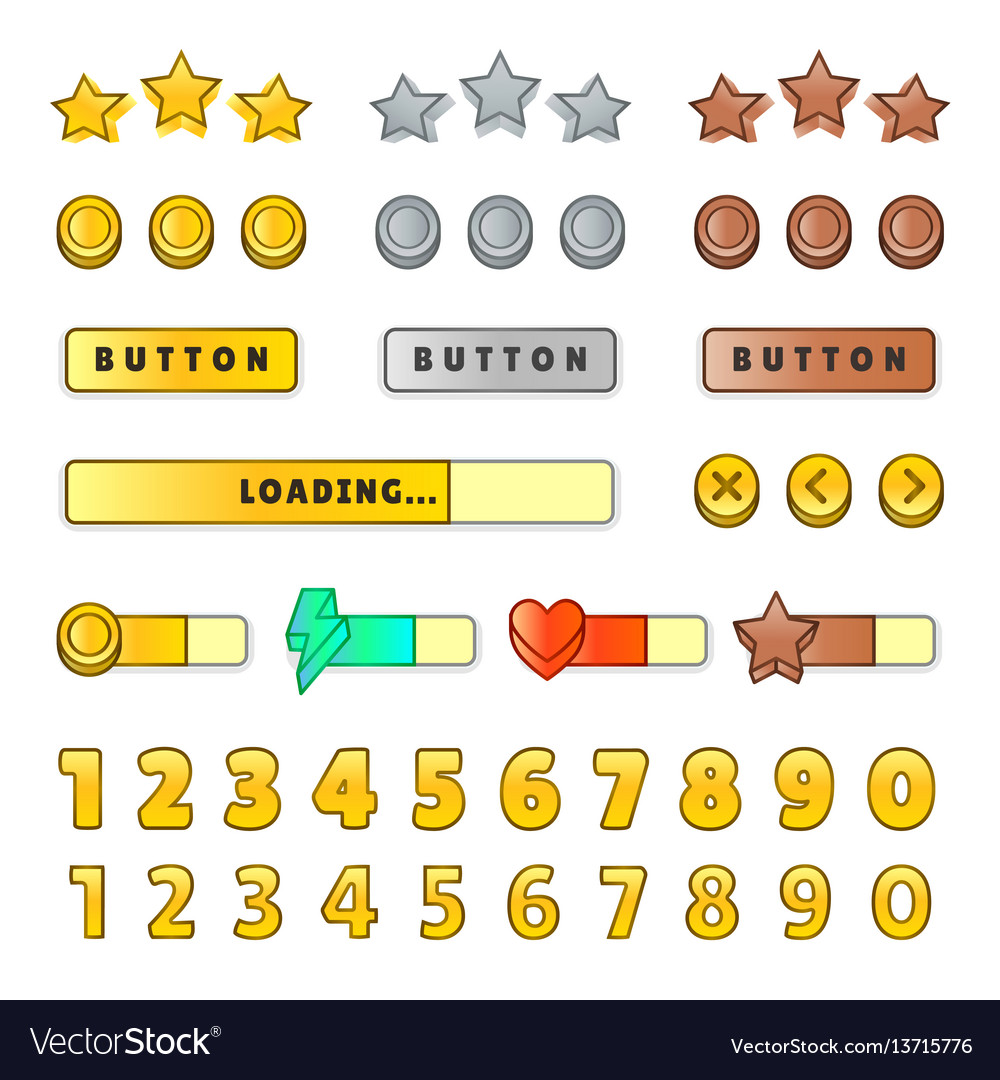 Game graphical user interface gui design buttons