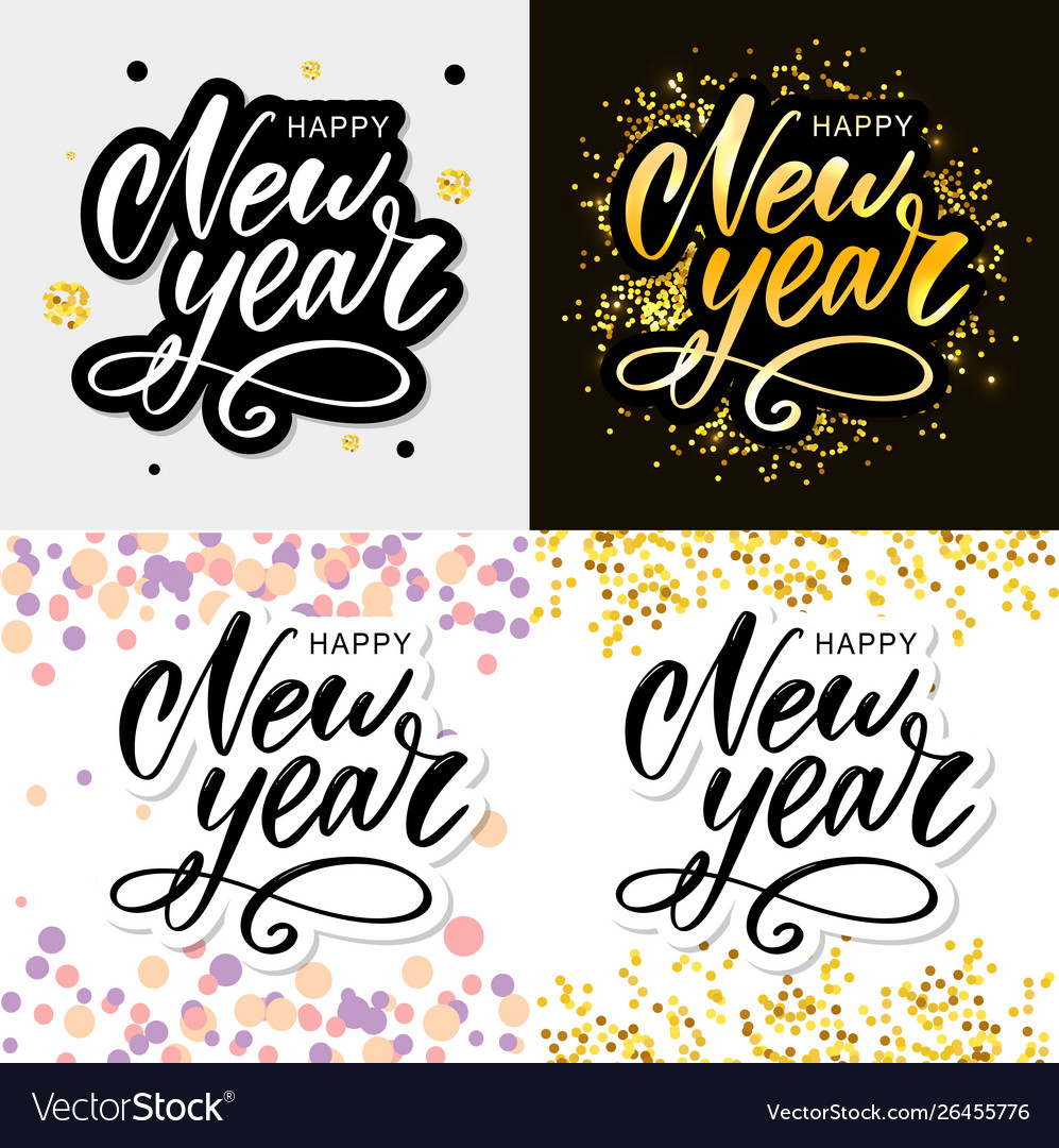 Happy 2020 new year holiday with lettering