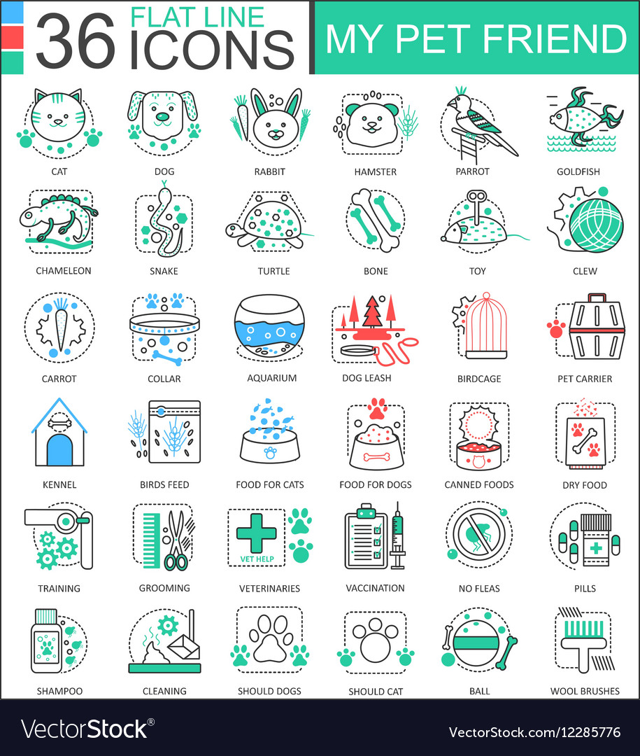 My pet friend flat line outline icons for