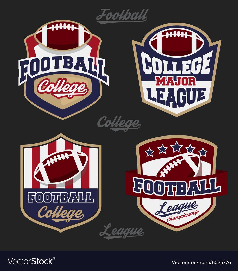 Set football college league badge logo